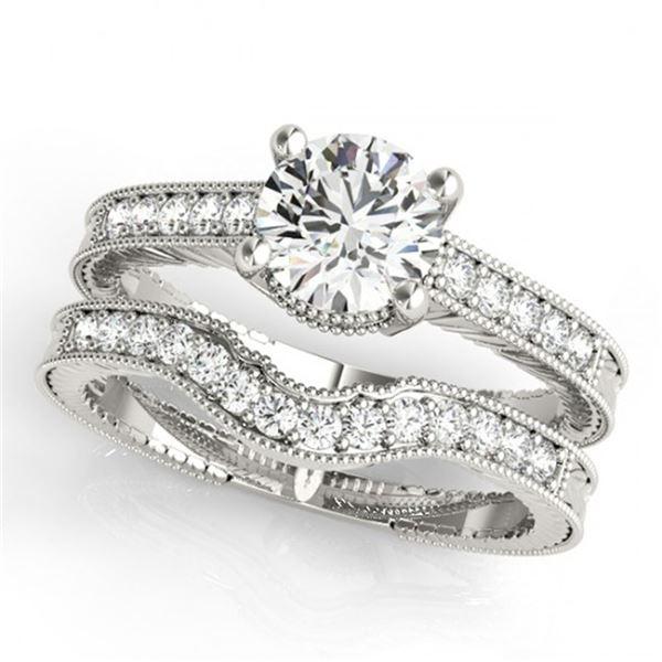 0.88 ctw Certified VS/SI Diamond 2pc Wedding Set Antique 14k White Gold - REF-114K5Y