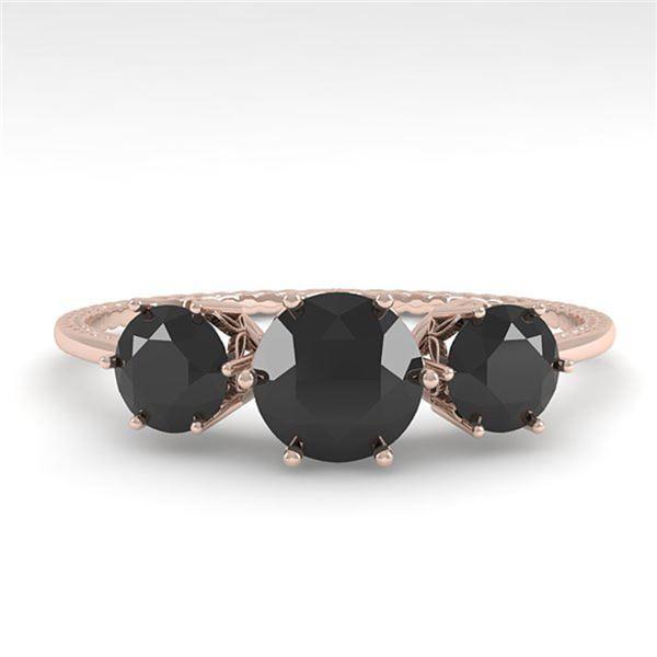 1 ctw Black Certified Diamond Art Deco Ring 14k Rose Gold - REF-34K3Y