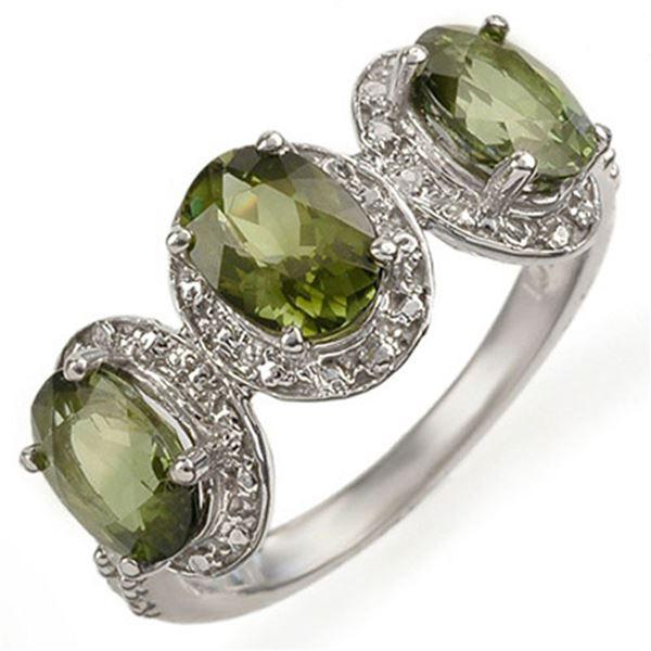 3.08 ctw Green Tourmaline & Diamond Ring 10k White Gold - REF-31Y9X