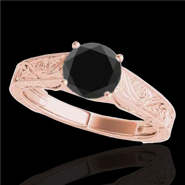 1 ctw Certified VS Black Diamond Solitaire Ring 10k Rose Gold - REF-34H4R