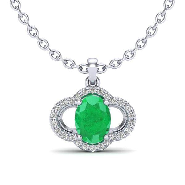 2 ctw Emerald & Micro Pave VS/SI Diamond Necklace 10k White Gold - REF-31K4Y