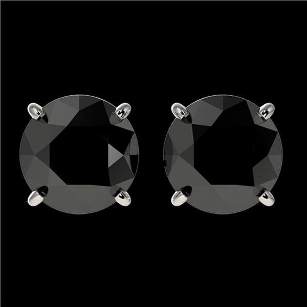 2.13 ctw Fancy Black Diamond Solitaire Stud Earrings 10k White Gold - REF-35Y6X