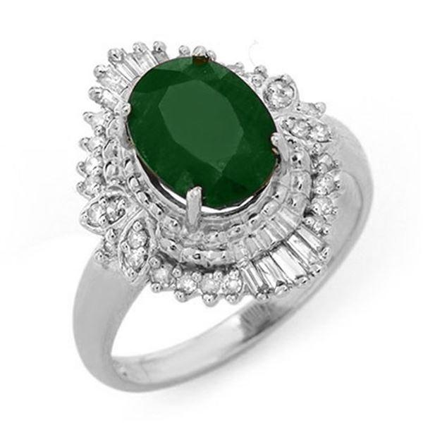 2.58 ctw Emerald & Diamond Ring 18k White Gold - REF-54G2W