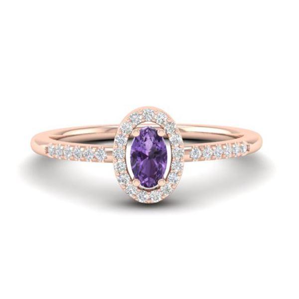 0.45 ctw Amethyst & Micro Pave VS/SI Diamond Ring 14k Rose Gold - REF-23A5N