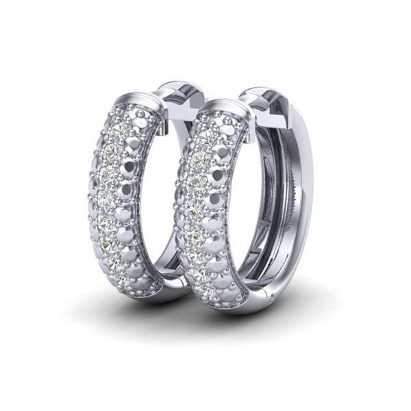 0.15 ctw Micro Pave Hoop VS/SI Diamond Certified Earrings 10k White Gold - REF-19W5H