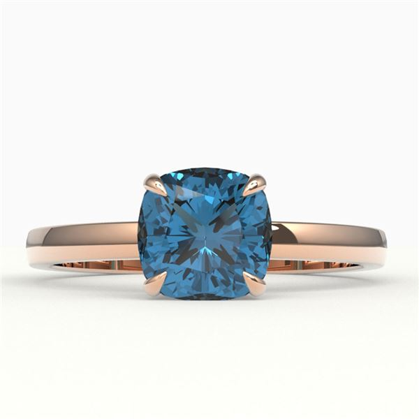 1.50 ctw Cushion London Blue Topaz Ring 14k Rose Gold - REF-16N2F