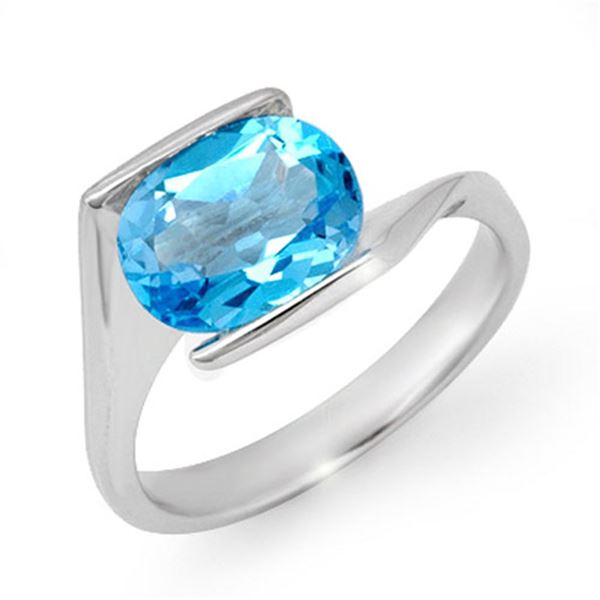 3.0 ctw Blue Topaz Ring 10k White Gold - REF-14Y9X