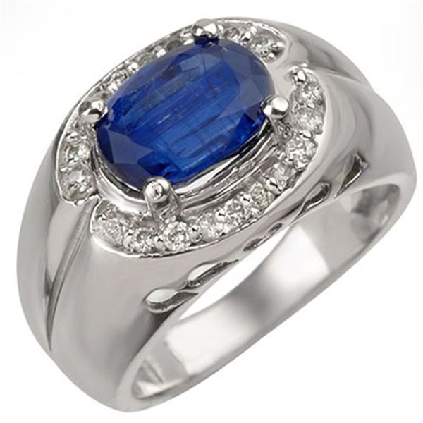3.33 ctw Kaynite & Diamond Ring 10k White Gold - REF-96W4H