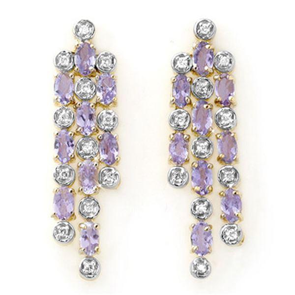 4.08 ctw Tanzanite & Diamond Earrings 14k Yellow Gold - REF-118R2K