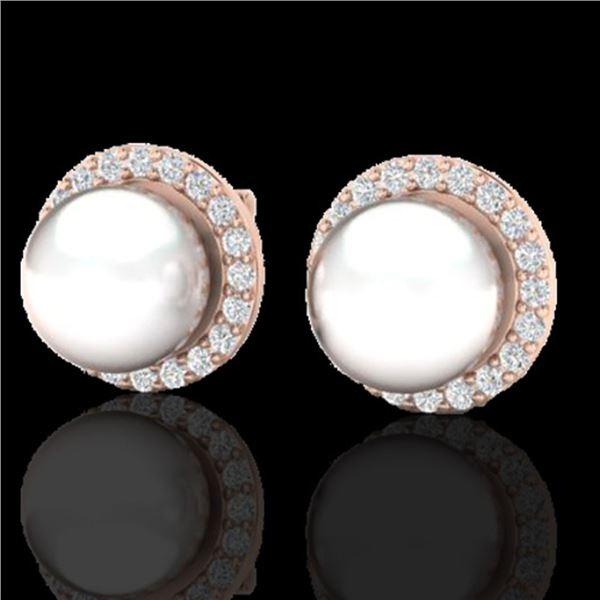 0.50 ctw Micro Pave VS/SI Diamond & Pearl Earrings 14k Rose Gold - REF-46Y5X