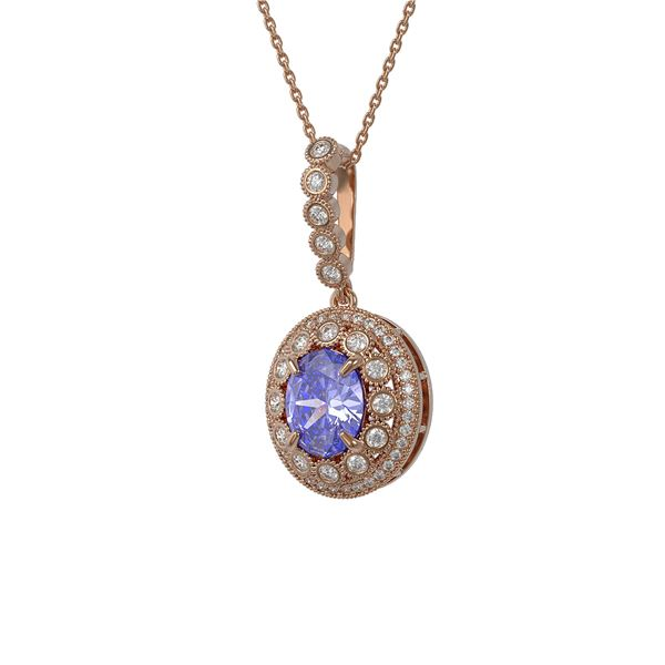 4.77 ctw Tanzanite & Diamond Victorian Necklace 14K Rose Gold - REF-169A8N