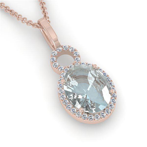 3 ctw Aquamarine & Micro Pave VS/SI Diamond Necklace 14k Rose Gold - REF-47G9W