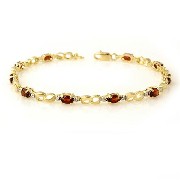 2.76 ctw Garnet & Diamond Bracelet 10k Yellow Gold - REF-19N6F