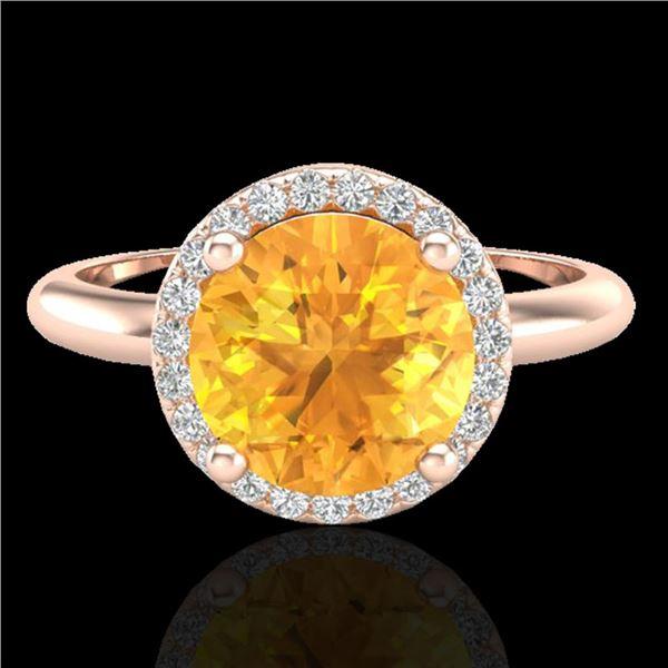 2 ctw Citrine & Micro VS/SI Diamond Ring Designer 14k Rose Gold - REF-33M8G