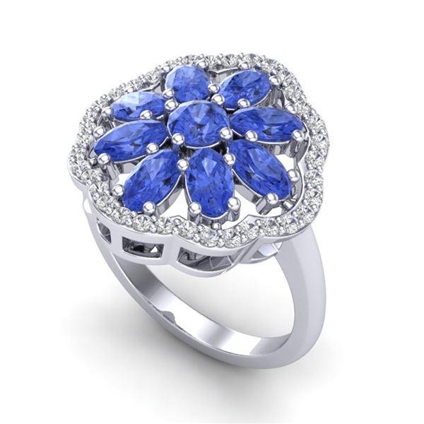3 ctw Tanzanite & VS/SI Diamond Cluster Designer Ring 10k White Gold - REF-52Y3X