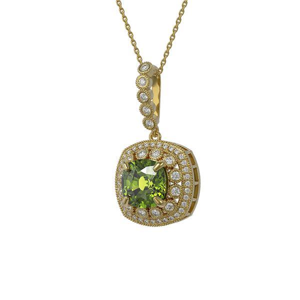 7.08 ctw Tourmaline & Diamond Victorian Necklace 14K Yellow Gold - REF-209R3K