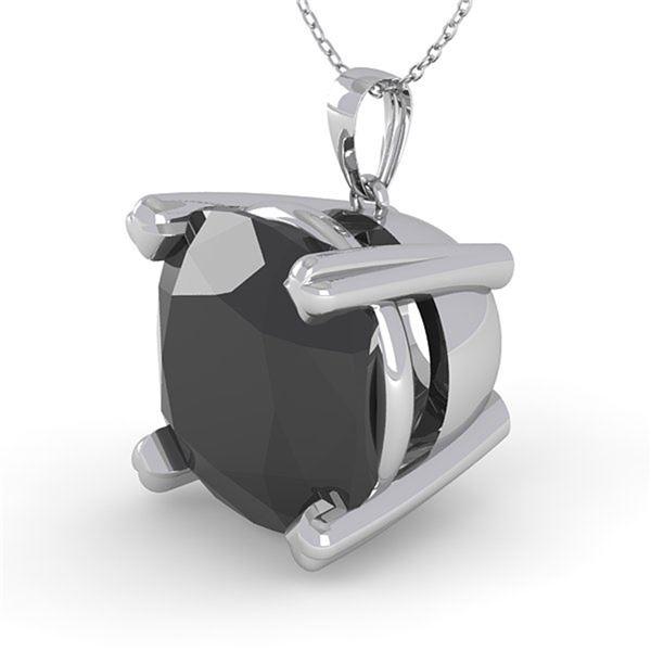 6.0 ctw Cushion Black Diamond Designer Necklace 14k White Gold - REF-108M3G