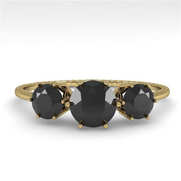 1 ctw Black Certified Diamond Art Deco Ring 14k Yellow Gold - REF-34N3F