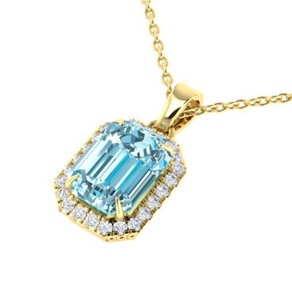 6 ctw Sky Blue Topaz & Micro Pave Diamond Necklace 18k Yellow Gold - REF-40Y2X
