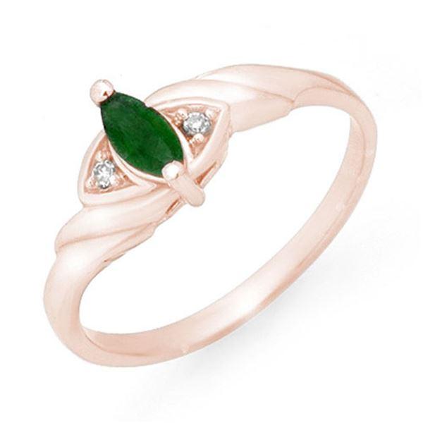 0.26 ctw Emerald & Diamond Ring 14k Rose Gold - REF-13N5F