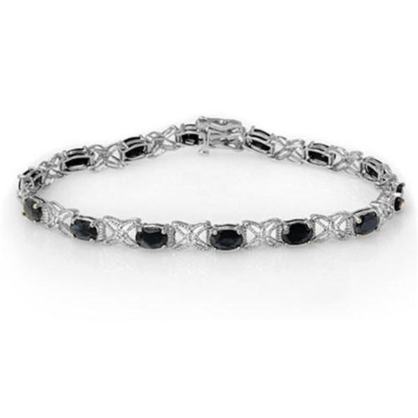 10.81 ctw Blue Sapphire & Diamond Bracelet 18k White Gold - REF-120Y2X