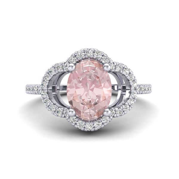 1.75 ctw Morganite & Micro Pave VS/SI Diamond Ring 10k White Gold - REF-40Y9X