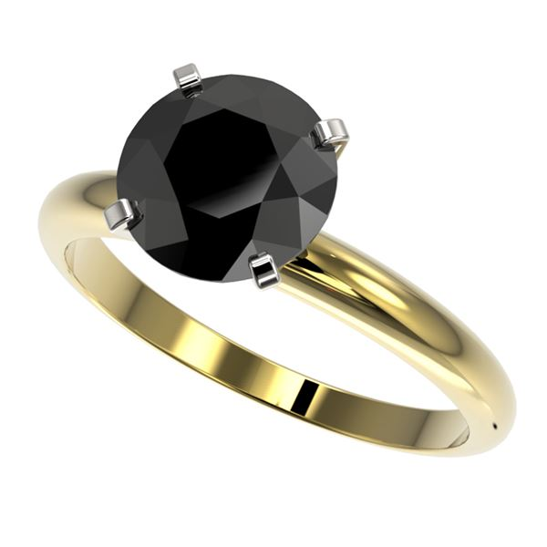 2.59 ctw Fancy Black Diamond Solitaire Engagment Ring 10k Yellow Gold - REF-57W8H