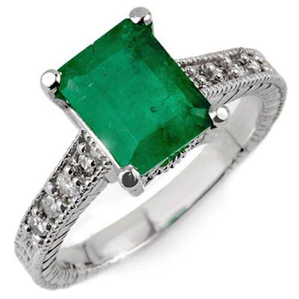 2.75 ctw Emerald & Diamond Antique Ring 18k White Gold - REF-77R8K