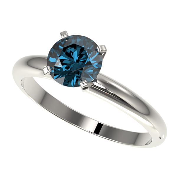 1.26 ctw Certified Intense Blue Diamond Engagment Ring 10k White Gold - REF-120A9N