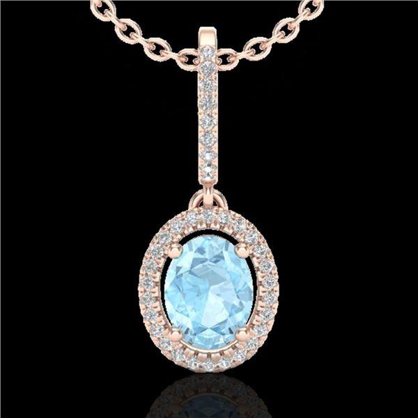 1.75 ctw Aquamarine & Micro VS/SI Diamond Necklace Halo 14k Rose Gold - REF-47A3N
