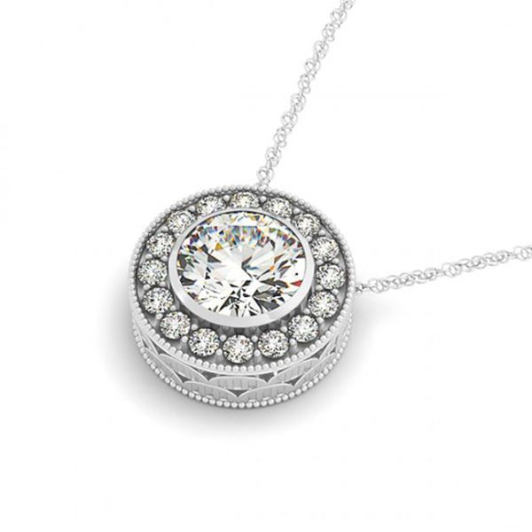0.50 ctw Certified SI Diamond Halo Necklace 14k White Gold - REF-49K3Y