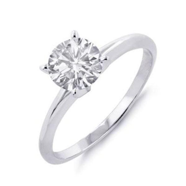 0.60 ctw Certified VS/SI Diamond Solitaire Ring 14k White Gold - REF-140F2M
