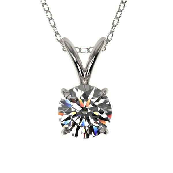 0.53 ctw Certified Quality Diamond Solitaire Necklace 10k White Gold - REF-40Y8X