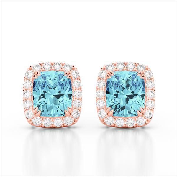 2.50 ctw Sky Blue Topaz & Micro VS/SI Diamond Earrings 10k Rose Gold - REF-30W8H