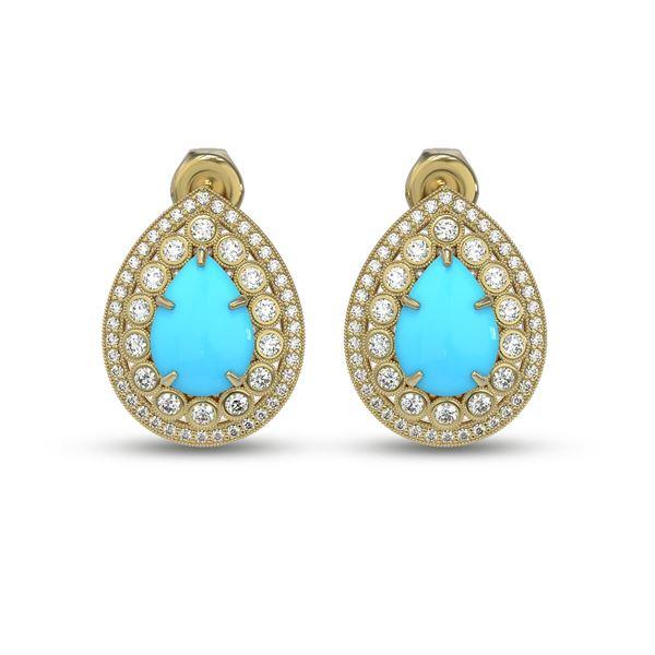 7.54 ctw Turquoise & Diamond Victorian Earrings 14K Yellow Gold - REF-218Y2X