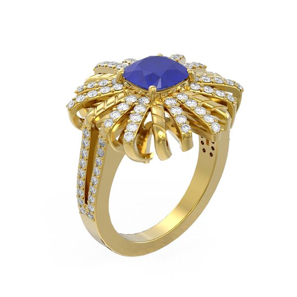 3.23 ctw Sapphire & Diamond Ring 18K Yellow Gold - REF-166H2R
