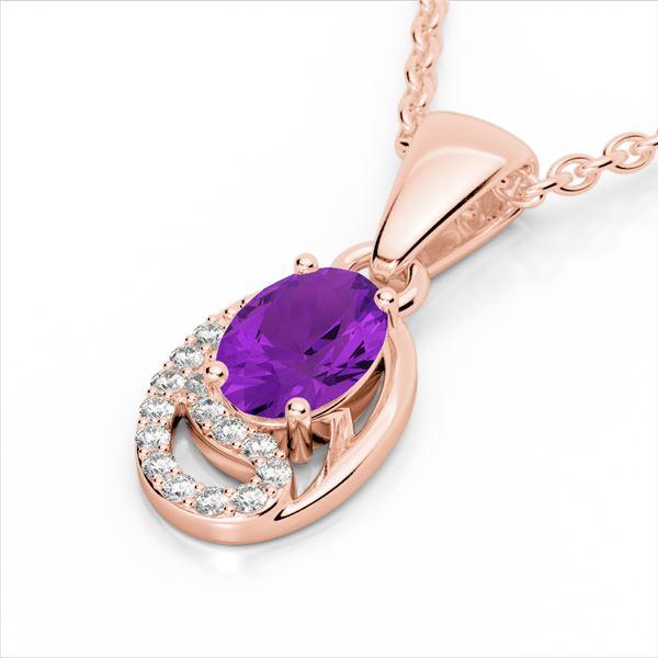 1.25 ctw Amethyst & Micro VS/SI Diamond Certified Necklace 10k Rose Gold - REF-18F4M