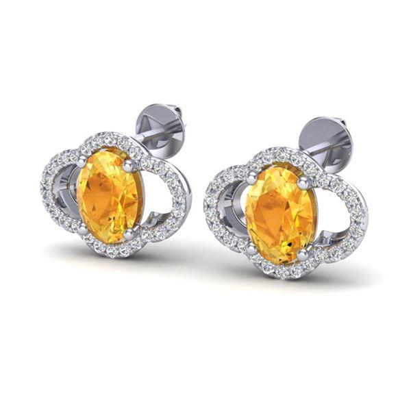 3.50 ctw Citrine & Micro Pave VS/SI Diamond Earrings 10k White Gold - REF-45H3R