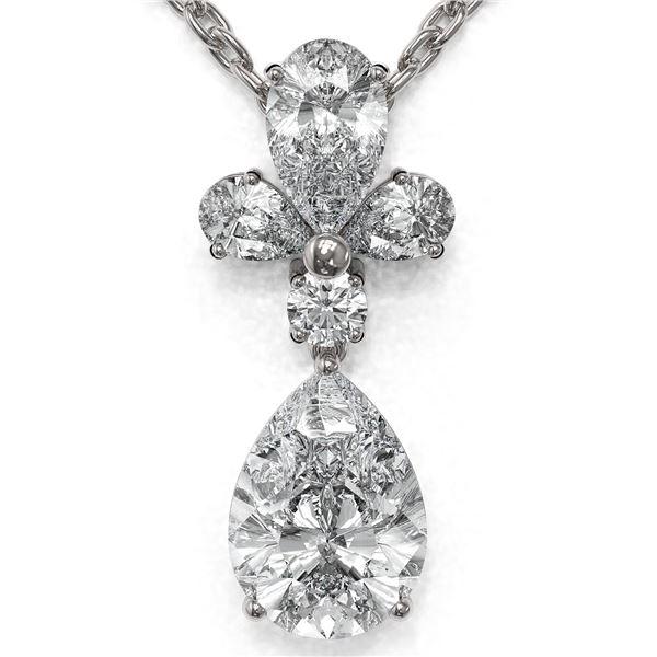 1.4 ctw Pear Cut Diamond Designer Necklace 18K White Gold - REF-181N2F