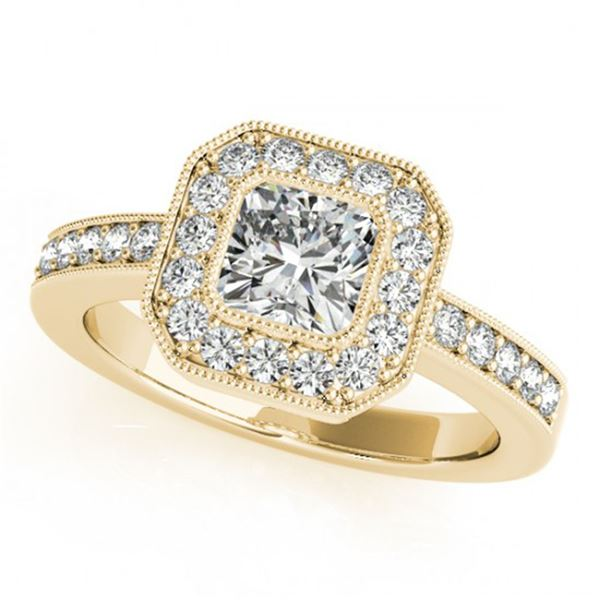 0.8 ctw Certified VS/SI Cushion Diamond Halo Ring 18k Yellow Gold - REF-121X2A