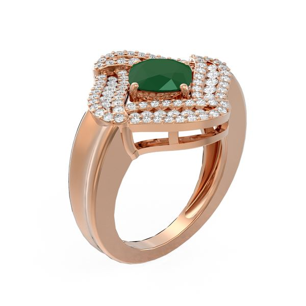 3.42 ctw Emerald & Diamond Ring 18K Rose Gold - REF-173M5G