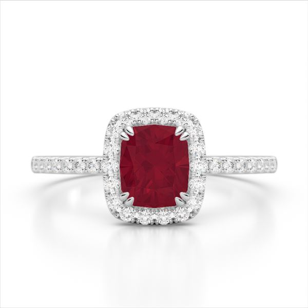 1.25 ctw Ruby & Micro Pave VS/SI Diamond Certified Ring 10k White Gold - REF-30W8H