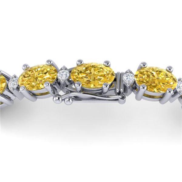 12 ctw Citrine & VS/SI Diamond Eternity Bracelet 10k White Gold - REF-56W2H