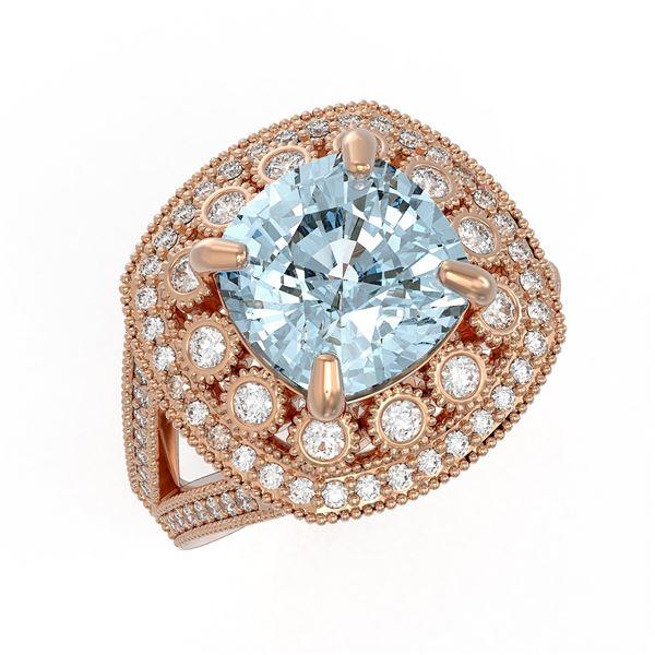 5.27 ctw Certified Aquamarine & Diamond Victorian Ring 14K Rose Gold - REF-165F3M