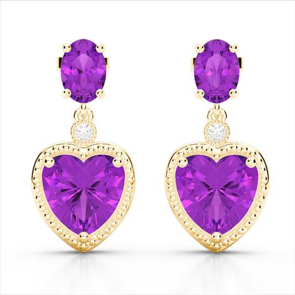 8 ctw Amethyst & VS/SI Diamond Designer Heart Earrings 10k Yellow Gold - REF-32W8H