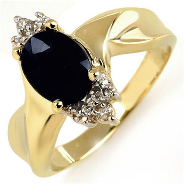 1.79 ctw Blue Sapphire & Diamond Ring 10k Yellow Gold - REF-14W8H