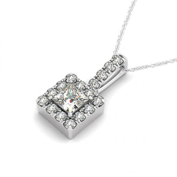0.8 ctw Princess Certified VS/SI Diamond Halo Necklace 14k White Gold - REF-122A4N