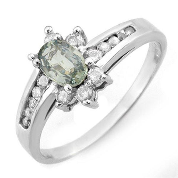 1.08 ctw Green Sapphire & Diamond Ring 10k White Gold - REF-25G8W