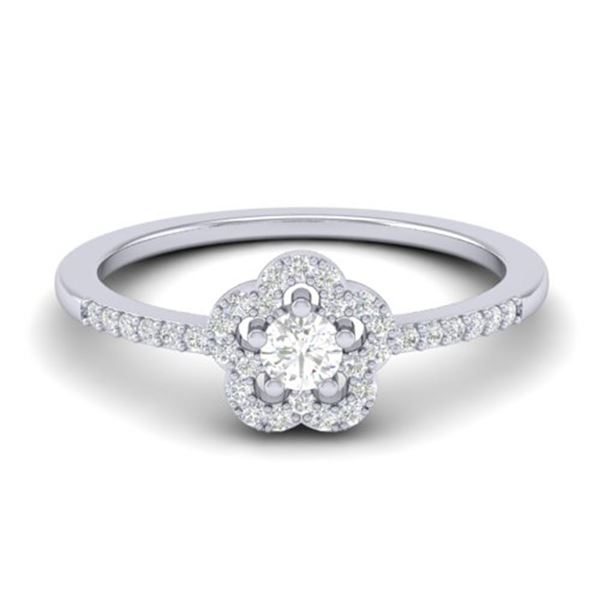 0.35 ctw Micro PaveVS/SI Diamond Certified Ring MOON Halo IN 10k White Gold - REF-24F5M
