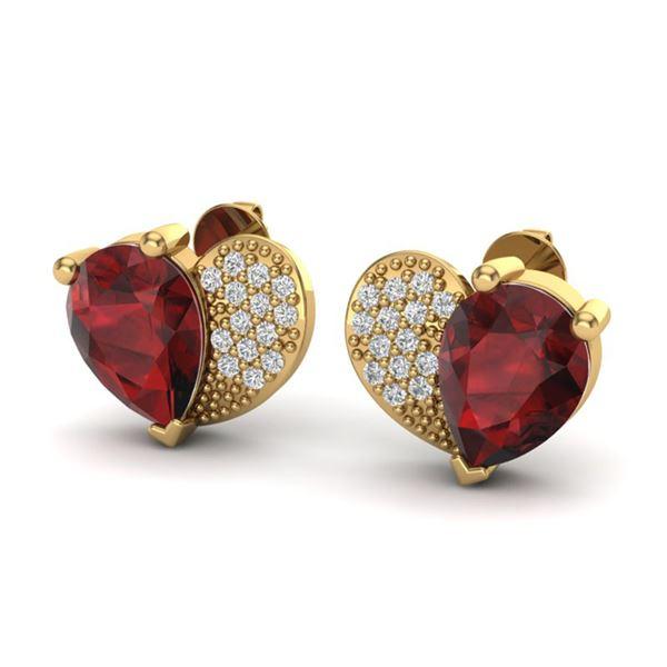 2.50 ctw Garnet & Micro Pave VS/SI Diamond Earrings 10k Yellow Gold - REF-22X5A